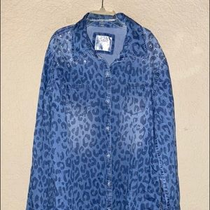 Justice Blue Jean Bling Button Front Shirt